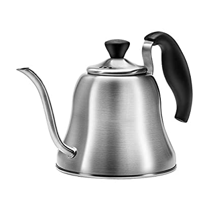 Chefbar Tea Kettle for Stove Top Premium Gooseneck Kettle, Small Pour Over Coffee Kettle, Goose Neck Tea Pot Stovetop Teapot, Hot Water Heater for Camping, Home & Kitchen, Stainless Steel, Brushed