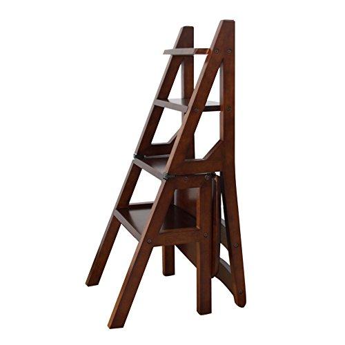 ZHANGRONG- Chaise pliante en bois Plier vers le haut Bibliothèque Steps Ladder Chair Utilisation de bureau de cuisine -Tabouret de canapé (Couleur : Marron)