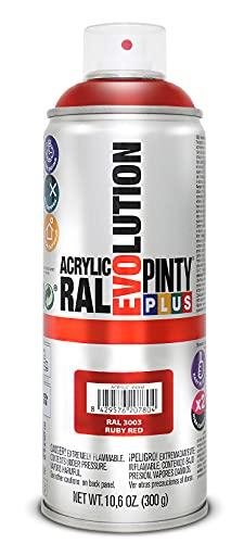 PINTYPLUS EVOLUTION 629 Pintura Spray Acrílica Brillo 520cc Ruby Red, ROJO RAL 3003, Estándar