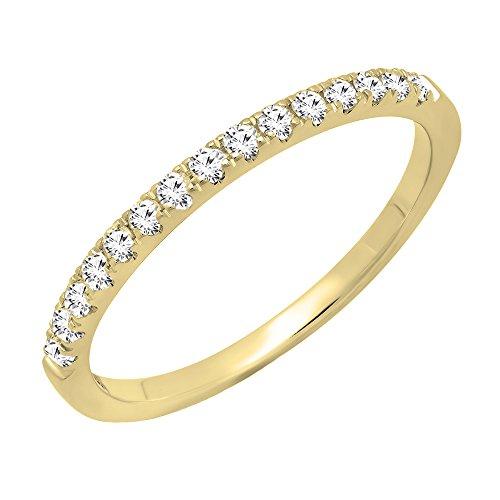 Dazzlingrock Collection 0.25 Carat (ctw) 18K Round White Diamond Ladies Stackable Wedding Band 1/4 CT, Yellow Gold, Size 6.5
