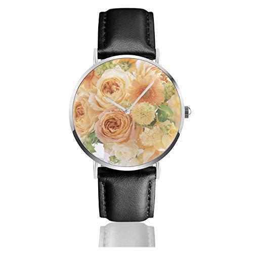 Bouquet Composition Earth Flower Gerbera Roses Vase Klassische Casual Quarzuhr Edelstahl Lederarmband Uhren