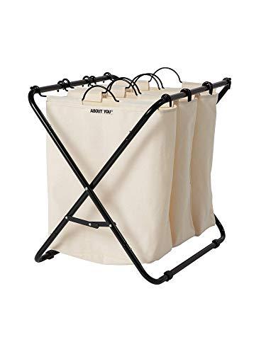 ABOUT YOU Wäschekorb 'Homie' mit DREI herausnehmbaren Wäschesäcken, geräumiger Wäschesammler zum Sortieren und Wäsche trennen (Beige)