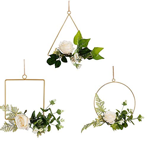 FightingFly Set of 3 Floral Gold Metal Geometric Hoop Wreath, Artificial Flower Garland Hanging Pendant with Artificial Roses for Home Kitchen Wall Art Decoration