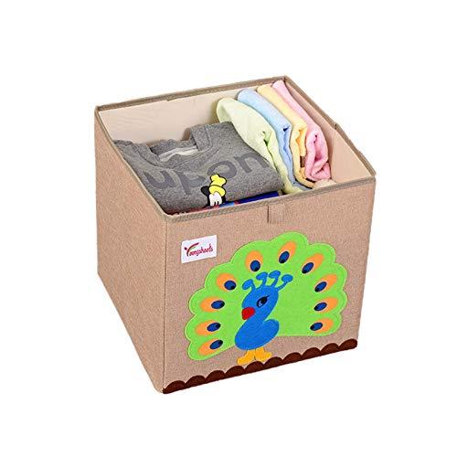 SHIBOHAN Lagerung Regal Cartoon Kinder Spielzeug Storage Box Faltbar Waschbar Verdickten Stoff Baumwolle Leinen Haus Kleiderschrank (Color : Peacock, Size : A)