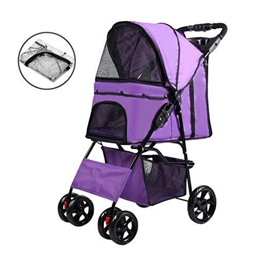 Kinderwagen für Hunde und Katzen, Haustierwagen mit robusten Rädern, kompakte und tragbare Hundewagen, Geländegängig, für Reisen oder Übernachtungen Hundebuggy