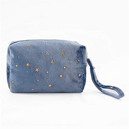 HOUHOU Vintage Mujeres Velvet Cosmetic Bag Zipper Gold Star Maquillaje Bolsa de Maquillaje Sólido Color Viaje Femenino Maquillaje Caja de Belleza de la Bolsa Bolso de tocador (Color : Blue)