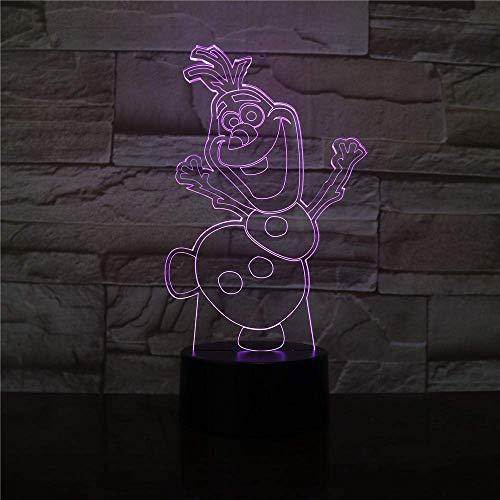 3D Illusion LED Lampe für Kinder Nachtlicht Schneemann Olaf Nachtlicht für Kinder Schlafzimmer Dekor Batteriebetriebene Atmosphäre Hübsche Baby LED Nachtlampe