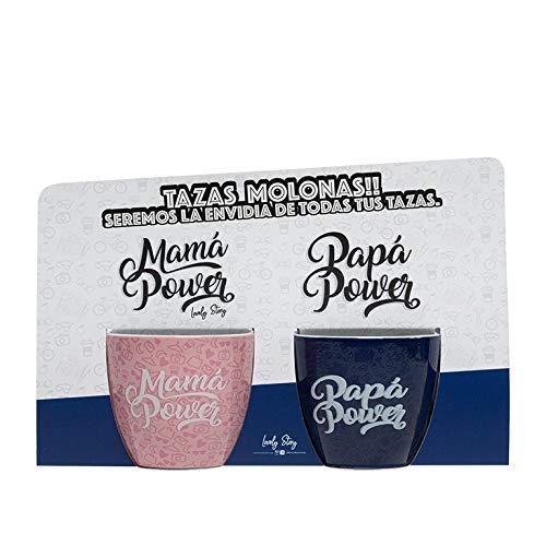 LS LOVELY STORY REGALA HISTORIAS BONITAS Tazas con Mensaje - MAMÁ Y PAPÁ Power - Pack DE 2 Tazas DE CAFÉ -