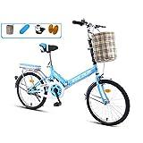 JHNEA 20 Pulgadas Plegable Bicicleta, Marco de Acero al Carbono Bicicleta Plegable Street con Sillin Confort Cesta y Estante,Blue-B