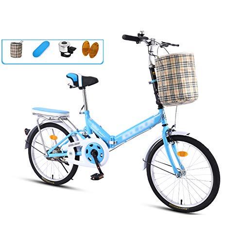 YSHCA20 Inch, vouwfiets, koolstofstalen frame, fiets, vouwfiets met comfortabel zadel mand en standaard bagagedrager
