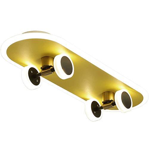 Skateboard Deckenlampe LED Kinderzimmerlampe Dimmbar Fernbedienung Deckenleuchte 32W Jungen Mädchen Kinderzimmer Jugendzimmer Gold Moderne Metall Decken Lampe Kinderdeckenlampe 60CM (Abgerundete)