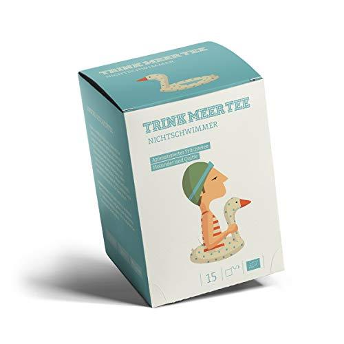 Trink Meer Tee NICHTSCHWIMMER - Bio aromatisierter Früchtetee | Bio Tee mit Holunder Quitte Geschmack | mit Holunderbeeren, Holunderblüten | Biotee in handgenähten Teebeuteln I 15 x 5g = 75g