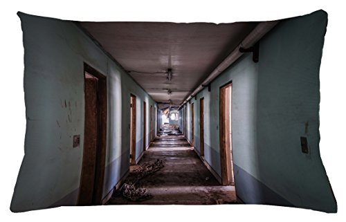 "Lunarable Rustic Throw Pillow Cushion Cover, Interior Hallway of a Korean Psychiatric Hospital Asylum Nostalgic Picture Print, Decorative Rectangle Accent Pillow Case, 26"" X 16"", Brown Blue"