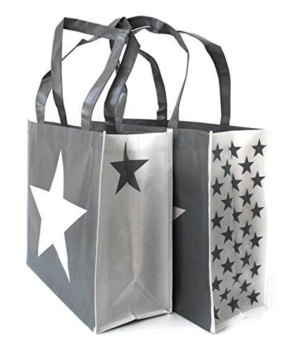 SHOPPER gris con estrellas blancas cuerda, cordel, como Mango de rocío, cremallera en Vintage Used Look, Shabby Chic, bolsa para la compra, bolsa de playa, cesta funda, plástico, 2er Einkaufstasche grau