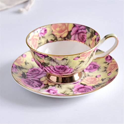 Cups elegant_RG Céramique Café Thé À Thé TumblersSets Fine China Manuel Fleur Plant Ensembles avec Soucoupe Anti-échaudage Fuite d'eau