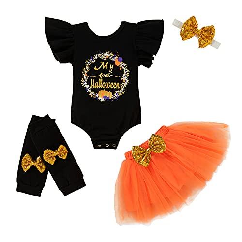 Baby Girl My 1st Halloween Outfits Long Sleeve Letter Print Romper+Tutu Skirt+Headbands Leg Warmers Clothes Set (Black, 3-6 Months)