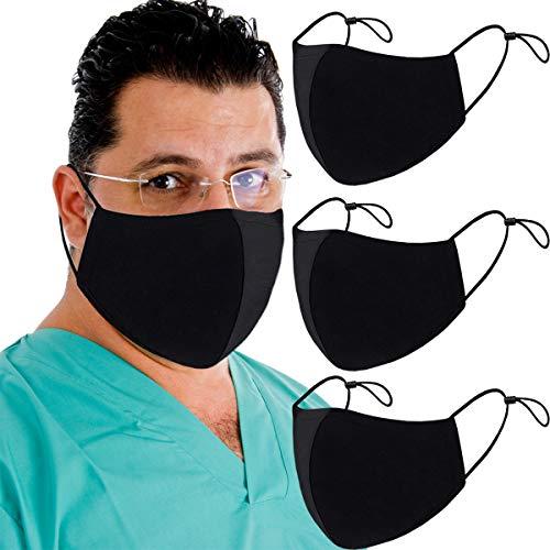 3 Layer Reusable Fashion Protective, Facial Protection Filtration 95%, Unisex Black Dust Cotton, Washable, Reusable Cotton Fabric