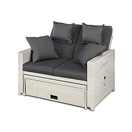 blumfeldt Komfortzone – Sofa Lounge en rotin Gris Clair, Cadre Stable en Tubes d'Acier, Revêtement élégant en rotin…