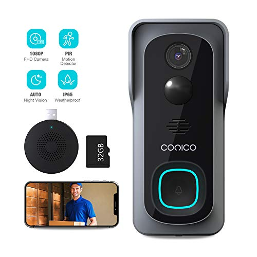 WiFi Video Doorbell Camera, 1080P HD Wireless Home Security Door Bell with 32GB Pre-Installed/Chime, IP Camera Doorbell Wi-Fi with Motion Detector Waterproof, 2-Way Audio/Night Vision/166° Wide Angle