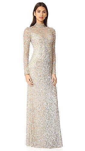 Parker Women's Leandra Long Sleeve Beaded Gown, Silver, 6 (Apparel)