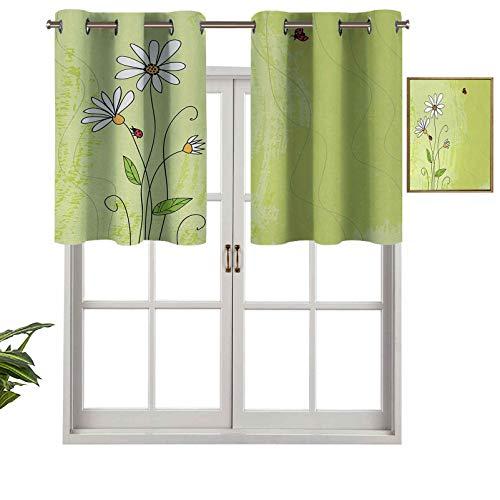 Hiiiman Cortina opaca para ventana, diseño de flores de manzanilla en un fondo verde con aspecto de mariquitas y grunge, juego de 1, 127 x 45 cm para interior, salón, comedor, dormitorio