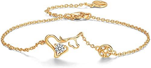 Pulsera Feng Shui Bead Lucky Charm Bracelet 2021 Año del OX S925 plata chapado en oro Zodiaco Ox Zircón con incrustaciones de zircón de cobre de cobre de la cuerda roja Pulsera de la cadena de la cuer