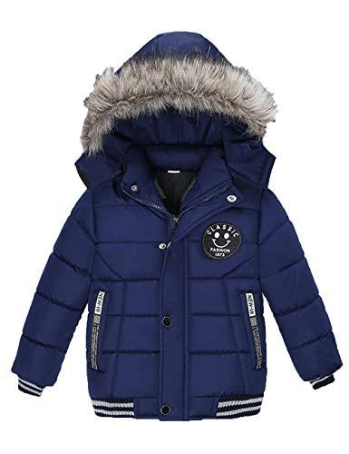 Echinodon winterjas voor jongens met fleece-voering, winterjas met bontcapuchon, kinderen babyjas