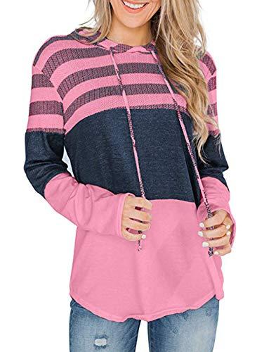 ZIOOER Damen Pulli Sweater Mode Kapuzenpulli Kapuzenpullover Hoodie Langarm Pullover Kapuze Sweatshirt Tops Jumper Rose Rot M