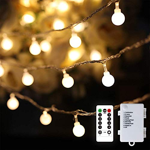Party Globe String Lights,Battery Operated String Lights with Remote, 8 Modes IP64 Waterproof Ideal for Valentines Day Decor (16.4Ft 50 LEDs,Mini)