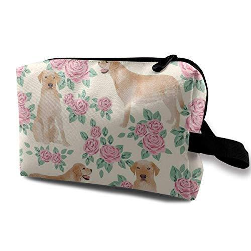 Yellow Lab Stoff Yellow Labrador Retriever Florals Rose Creme Reise Make-up Kosmetiktasche Make-up Reisetasche Geldbörse für Frauen