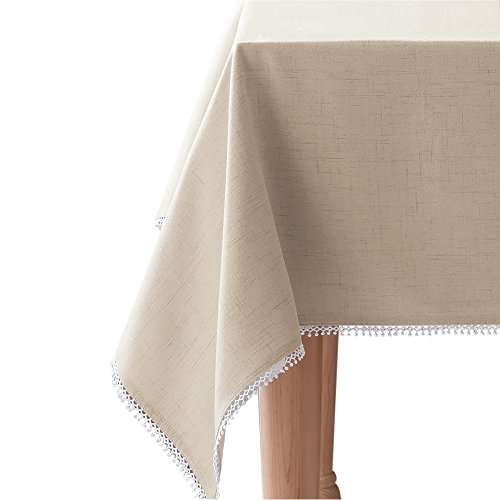 """Lenox French Perle Solid 60""""x84"""" Oblong Tablecloth, Natural Linen"""