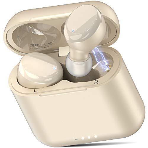 TOZO T6 Bluetooth イヤホン【2020进化版】 IPX8完全防水 充電ケース付き TWS 完全ワイヤレス自動ペアリング 両耳左右分離型Bluetooth イヤホン, ワイヤレス HI-FI タッチ制御イヤホン Bluetooth 5.0 技適認証済 iPhone & Android 音声アシャンパン自動対応 イヤホン シャンパン