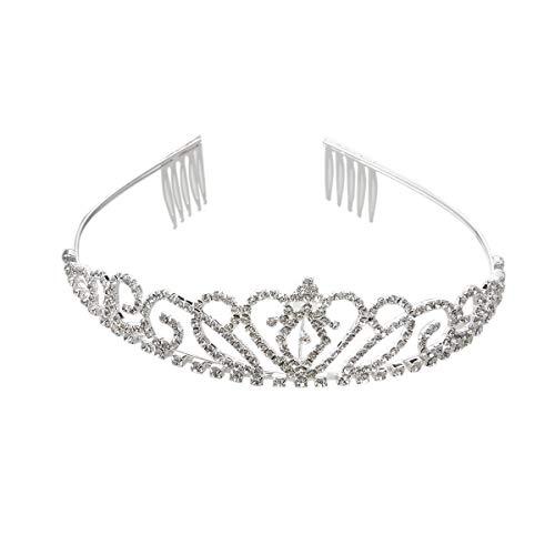 Stirnband Schmuck Zubehör Prinzessin Tiara Crown Hair Loop mit Kamm for Erstkommunion Hochzeit Splitter für Mädchen und Mädchen