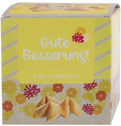 """NI HAO """"Gute Besserung"""" Glückskekse in schöner 10er Box mit einzeln verpackten Keksen und verschiedenen Sprüchen - Made in Germany"""
