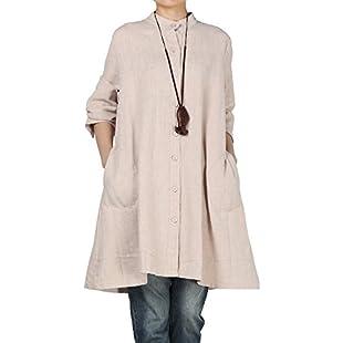 Customer reviews Vogstyle Women's Autumn Cotton Linen Full Front Buttons Shirt Dress with Pockets X-Large Beige:Viralinfo