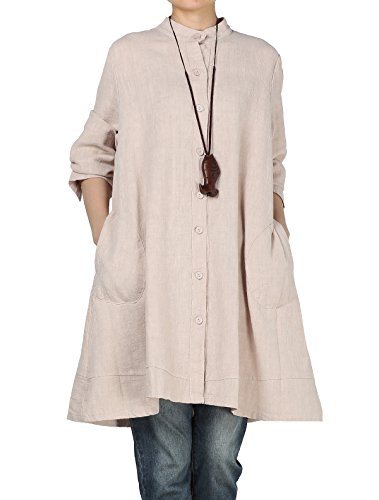 Mordenmiss Women's Cotton Linen Full Front Buttons Jacket Outfit with Pockets Style 1 M Beige
