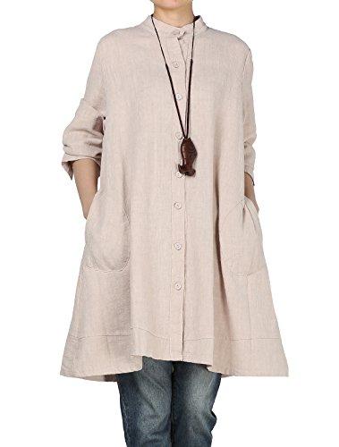 Vogstyle Damen Herbst Baumwolle Leinen Voller vorderer Knopf Blouse Kleid mit Taschen Style 1 X-Large Beige