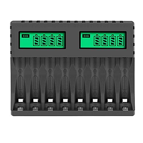Fauge Cargador de BateríA Pantalla LCD Cargadores Inteligentes Inteligentes de 8 Ranuras para BateríAs Recargables AA/AAA NiCd NiMh AA AAA Cargador