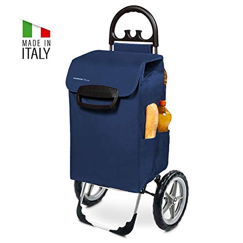 Kiley Einkaufstrolley XXL in blau mit großen Rädern - Einkaufswagen klappbar bis 50kg belastbar 78 Liter mit 7 Seitentaschen