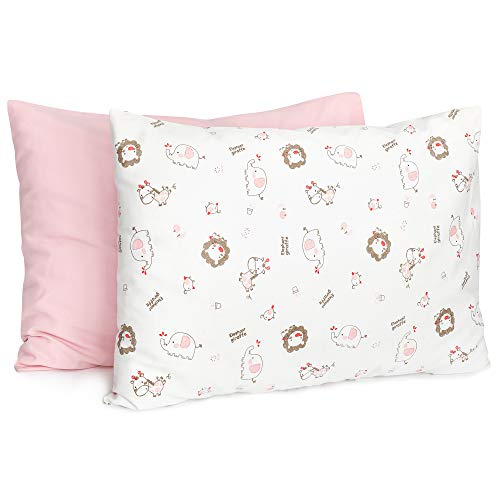 TILLYOU Cotton Collection Breathable Toddler Pillowcases Set of 2 Machine Washable & Super Soft, 14x20 - Fits Pillows Sized 12x16 13x18 or 14x19, Envelope Travel Pillow Case Cover, Jungle Animals Lion