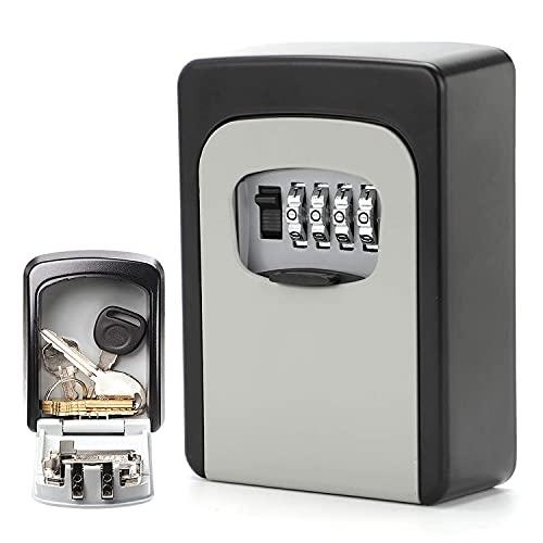 Cassaforte per chiavi con codice numerico a 4 cifre, grigio, cassetta per chiavi, montaggio a parete, per la casa, il garage, la scuola