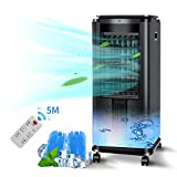 Portable Electric Air Conditioner Unit—2-1 Air Cooler & Tower Fan with 3 Speeds/Modes,12H Timer,with remote and 2 Ice Packs,7L Large Water Tank for Home,Kitchen,Office Black