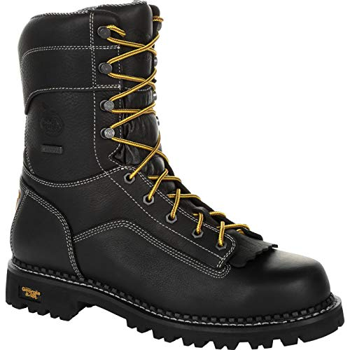 Georgia Boot AMP LT Logger Low Heel Waterproof Work Boot Size 9.5(M) Black