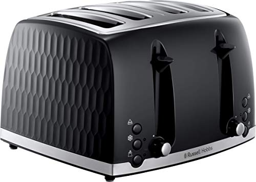 Russell Hobbs 26071 4 Slice Toaster - Contemporary Honeycomb Design with Extra Wide Slots and High Lift Feature, Black