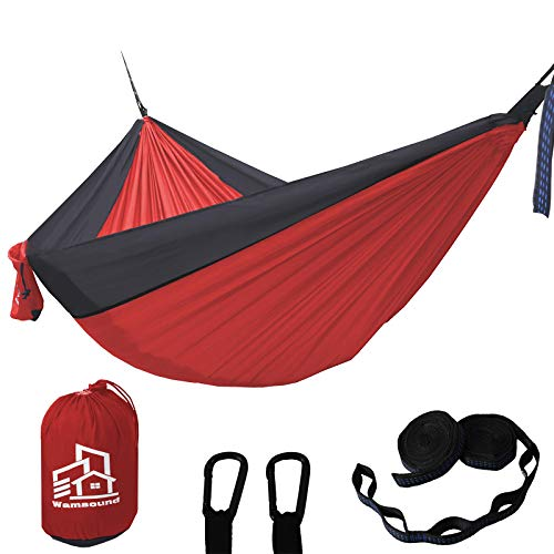 Wamsound Camping Hammock Single Double Portable Hammock,2 Tree Straps(6 Sections 9.2 Inches),Storage Bag,Indoor Outdoor...