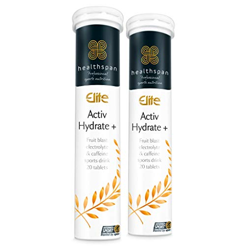 Activ Hydrate + Caffeine | Healthspan Elite | 40 Effervescent Tablets | Electrolyte Sports Drink | Fruit Blast Flavoured | Added Vitamin B Complex | Vegan