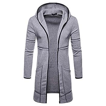 MODOQO Men s Hoodies Long Trench Coat Casual Cardigan Jacket Outwear Autumn  Gray,M