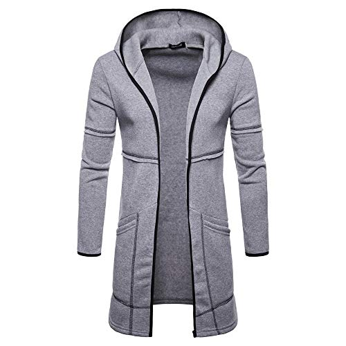 vermers Mens Hooded Solid Trench Coat Jacket Cardigan Fashion Long Sleeve Outwear Clothes(XL, Gray)