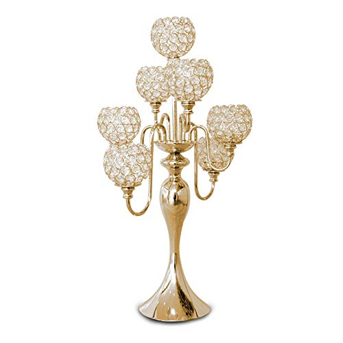 YBWEN Kandelaar, kandelaar, verguld glas, 7 armen, decoratie voor woonkamer, woonkamer, woonkamer, accessoire voor bruiloft