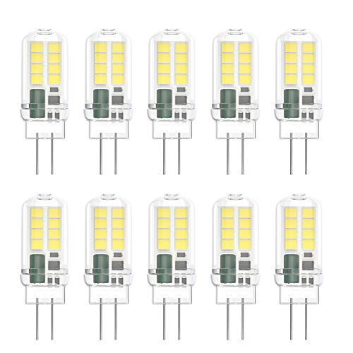 Klighten 10-Pack 3W G4 LED Bombillas, AC/DC 12V Bombillas de iluminación equivalente a 25W Halógena, Blanco Frio 6000K, No Regulable